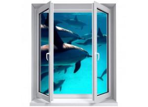Stickers trompe l'oeil fenêtre Les dauphins