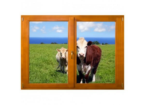 Stickers trompe l'oeil fenêtre Les vaches