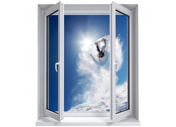 Stickers trompe l'oeil fenêtre Snowborder