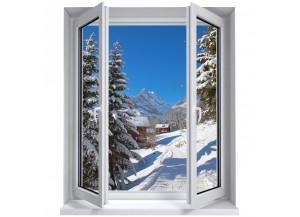 Stickers trompe l'oeil fenêtre La montagne sous la neige