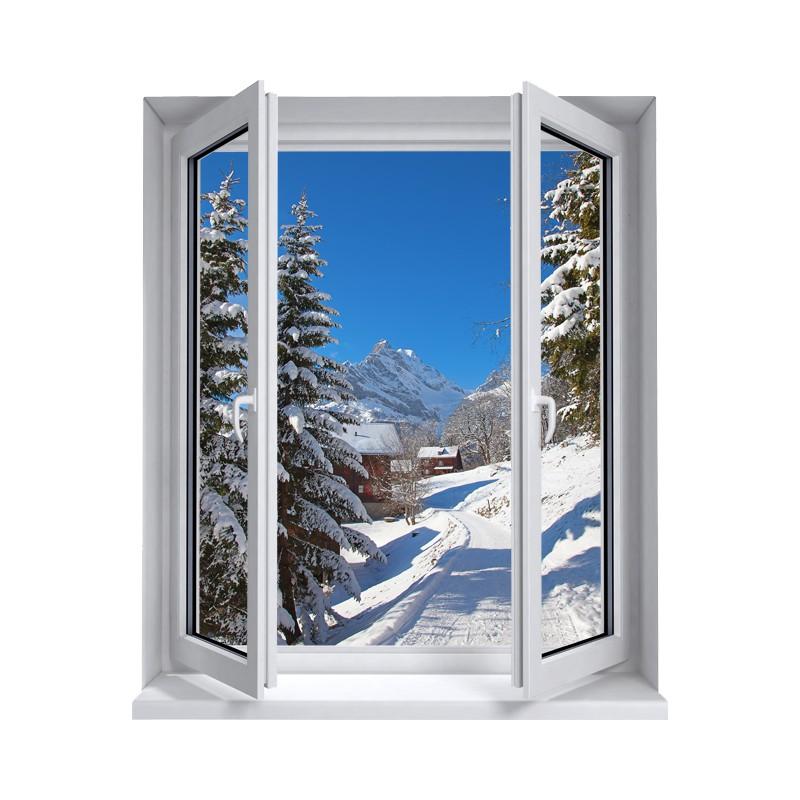 Stickers trompe l 39 oeil fen tre la montagne sous la neige for Fenetre en trompe l oeil