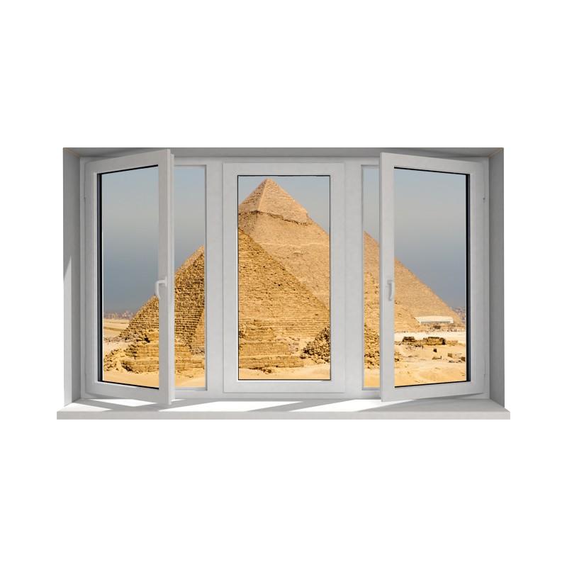 Fen tre trompe l 39 oeil les pyramides stickers les pyramides for Grandeur de fenetre