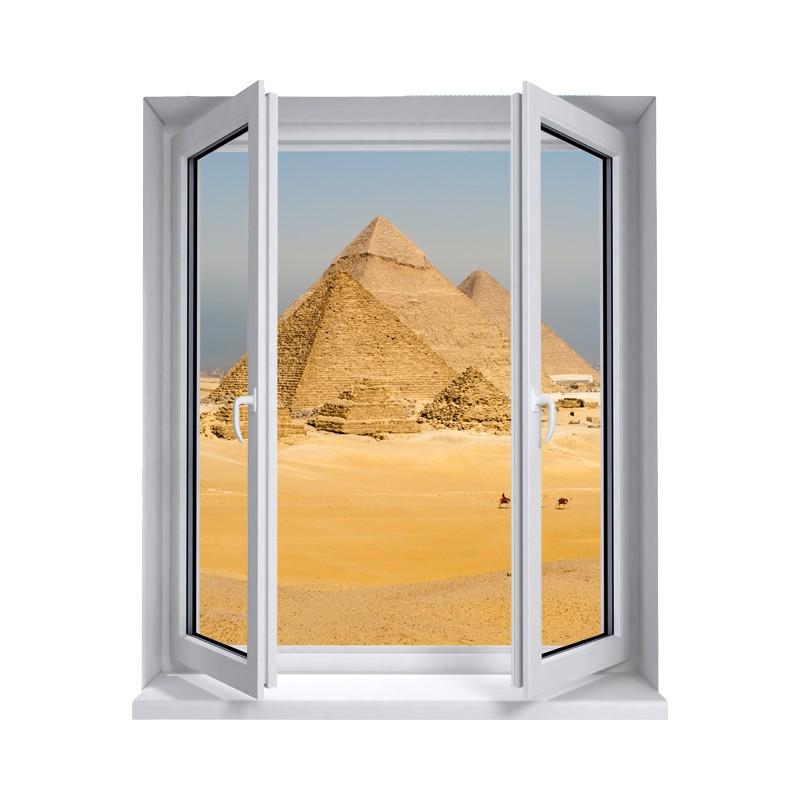 Trompe l 39 oeil fen tre et pyramides stickers fen tre trompe l 39 oeil for Grandeur de fenetre