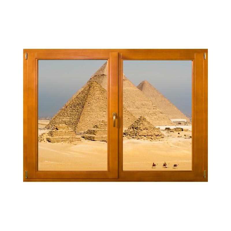 Fen tre trompe l 39 oeil egypte stickers les pyramides for Grandeur de fenetre