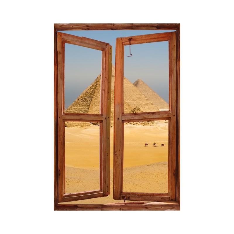Stickers muraux trompe l 39 oeil de fen tre les pyramides for Grandeur de fenetre