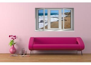 Stickers trompe l'oeil fenêtre Le bord de mer