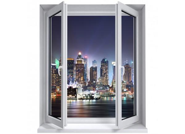 Stickers trompe l'oeil fenêtre New York la nuit