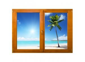 Stickers trompe l'oeil fenêtre Les tropiques