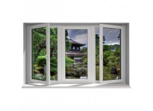 Stickers trompe l'oeil fenêtre Jardin zen
