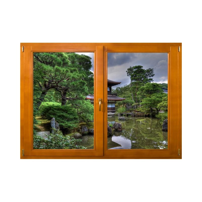 Stickers trompe l\'oeil fenêtre Jardin zen