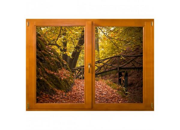 Stickers trompe l'oeil fenêtre Chemin dans les bois