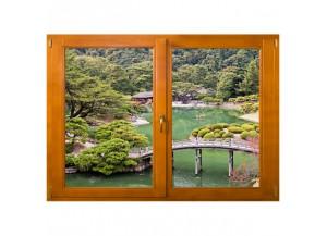 Stickers trompe l'oeil fenêtre Paysage japonnais
