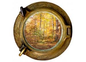 Stickers trompe l'oeil hublot Forêt d'automne