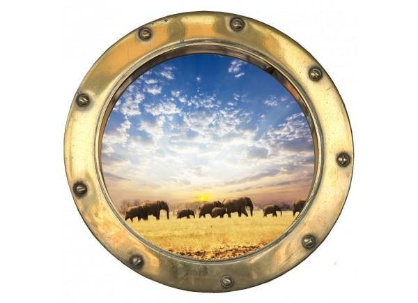 Stickers trompe l'oeil hublot Les éléphants
