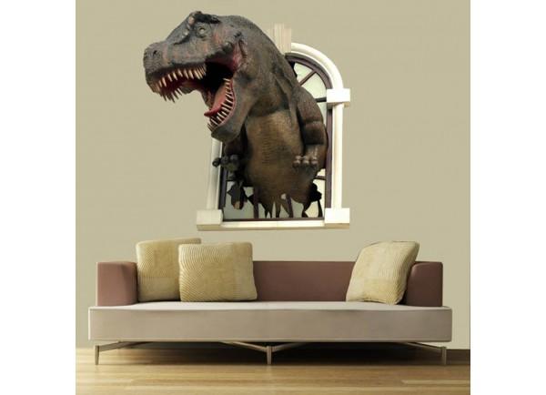 Stickers Dino sortant d'une fenêtre