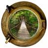 Stickers trompe l'oeil hublot Pont de bois dans la jungle