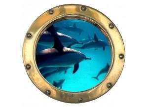 Stickers trompe l'oeil hublot Les dauphins