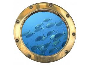 Stickers trompe l'oeil hublot Banc de poissons