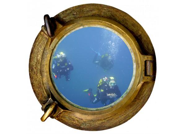Stickers trompe l'oeil hublot Les plongeurs
