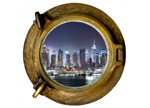 Stickers trompe l'oeil hublot New York la nuit