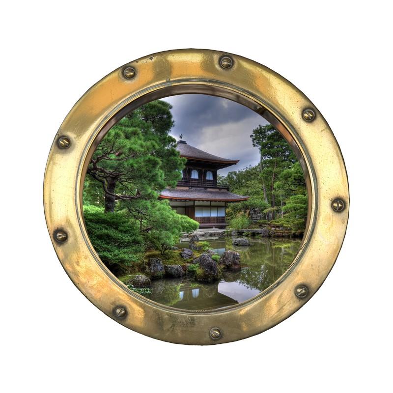 Stickers trompe l 39 oeil hublot jardin zen tatoutex stickers - Trompe l oeil jardin ...