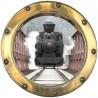 Stickers trompe l'oeil hublot Le train vapeur