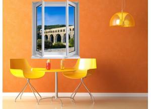 Stickers trompe l'oeil fenêtre Pont du Gard