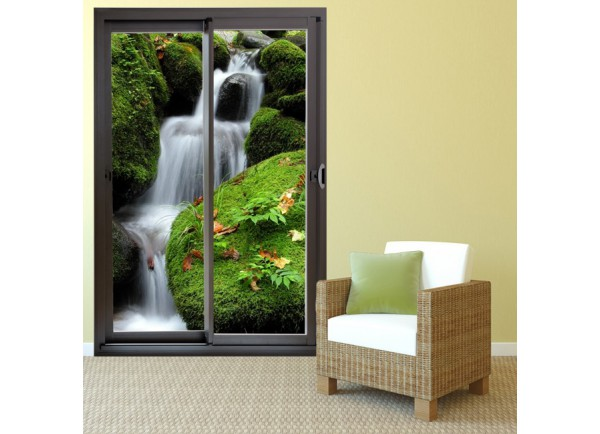 d co maison trompe l 39 oeil baie vitr e chute d 39 eau adh sif murale. Black Bedroom Furniture Sets. Home Design Ideas