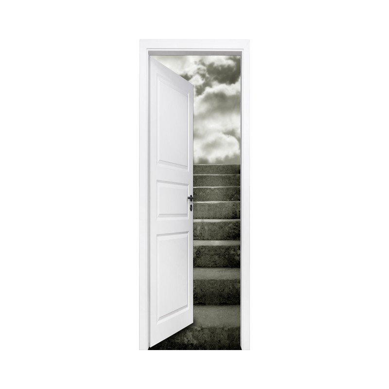 stickers trompe l 39 oeil porte escalier dans les nuages tatoutex stickers. Black Bedroom Furniture Sets. Home Design Ideas