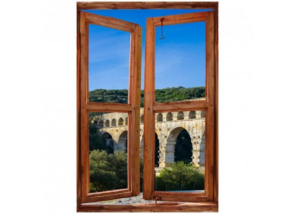 Stickers trompe l'oeil fenêtre Pond du Gard