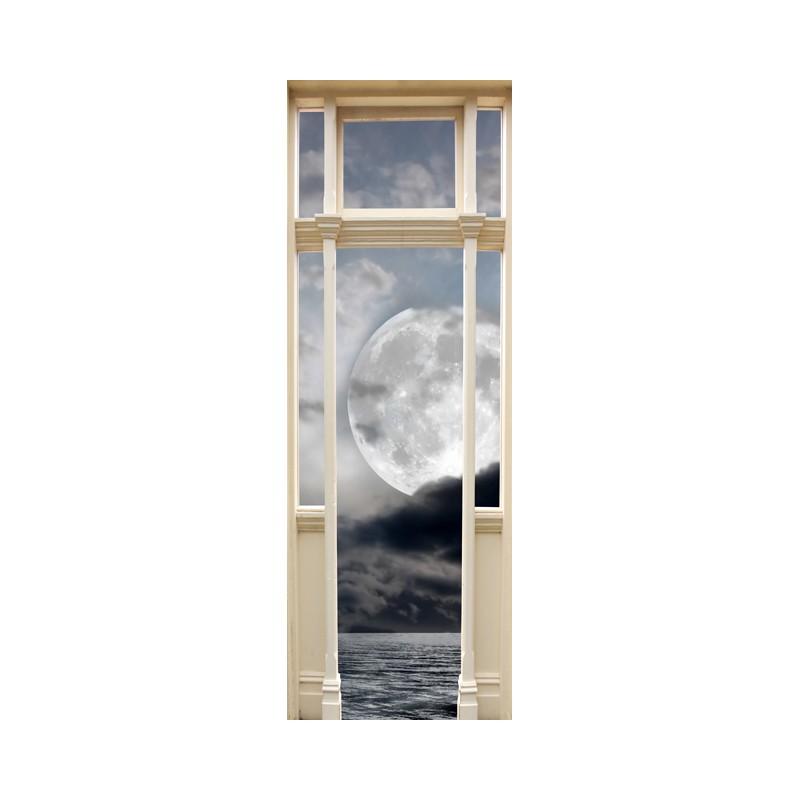 stickers trompe l 39 oeil porte la lune tatoutex stickers. Black Bedroom Furniture Sets. Home Design Ideas