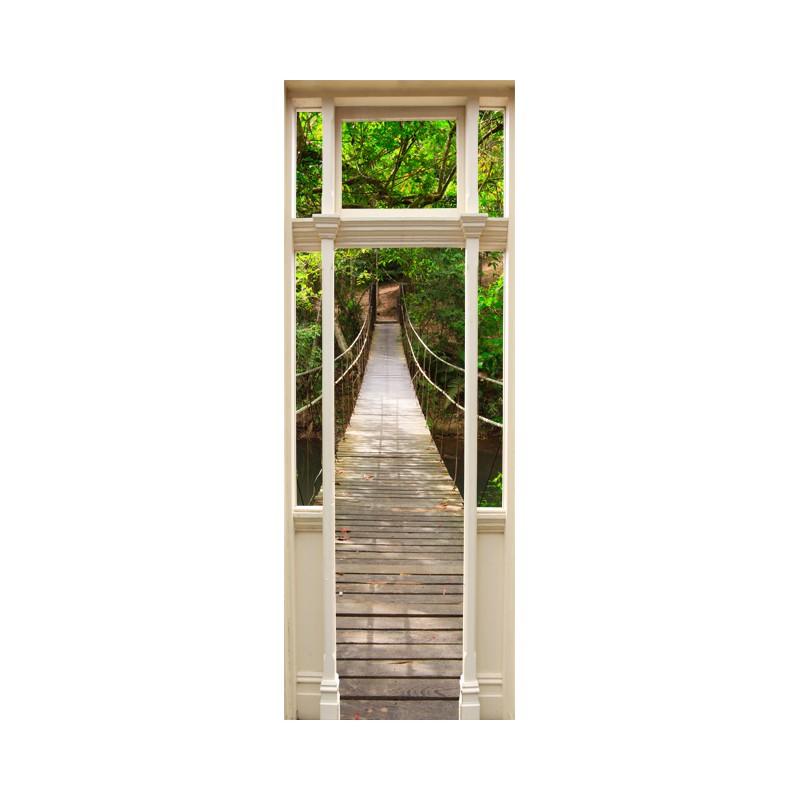 stickers trompe l 39 oeil porte pont de bois dans la jungle tatoutex stickers. Black Bedroom Furniture Sets. Home Design Ideas
