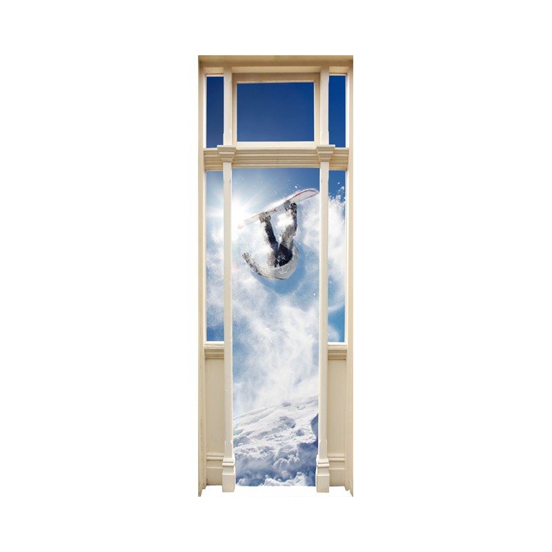 stickers trompe l 39 oeil porte snowboard tatoutex stickers. Black Bedroom Furniture Sets. Home Design Ideas