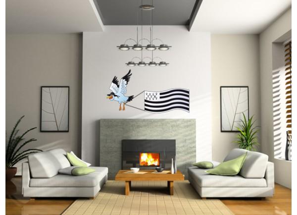 Stickers Mouette et drapeau breton