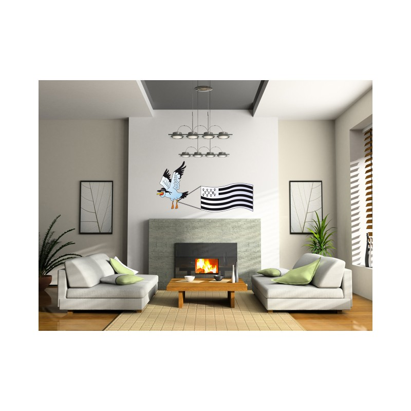 Stickers breton mouette et gwen ha du d coration bretagne for Stickers et decoration