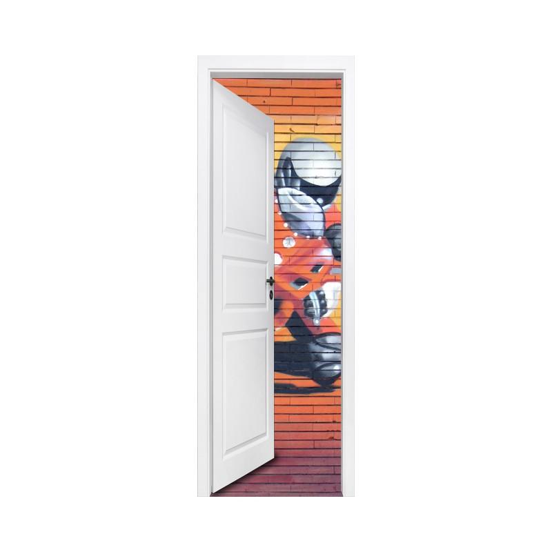 stickers trompe l 39 oeil porte et moto de grand prix d co murale moto. Black Bedroom Furniture Sets. Home Design Ideas