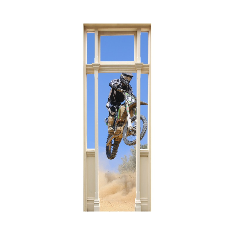 stickers trompe l 39 oeil porte moto cross d co murale moto cross. Black Bedroom Furniture Sets. Home Design Ideas