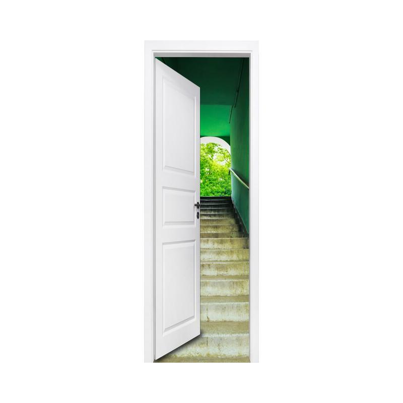 stickers trompe l 39 oeil porte escalier vert tatoutex stickers. Black Bedroom Furniture Sets. Home Design Ideas