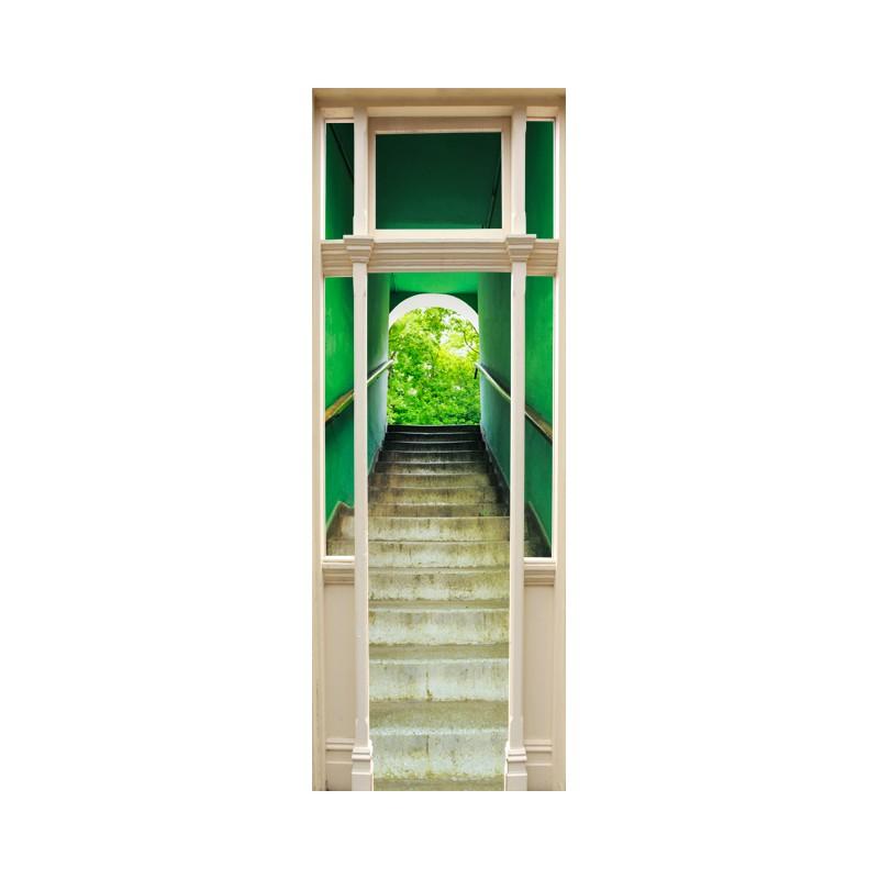 Stickers trompe l 39 oeil porte escalier vert tatoutex stickers for Sticker decoration de porte trompe l oeil escalier
