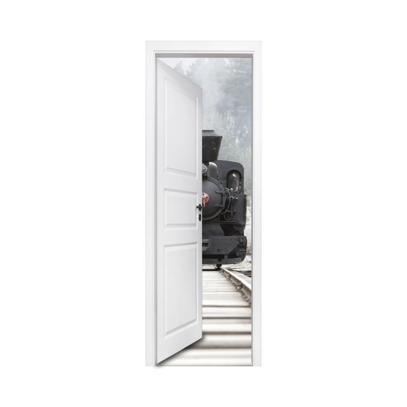 stickers muraux trompe l 39 oeil d coration porte et train a vapeur. Black Bedroom Furniture Sets. Home Design Ideas