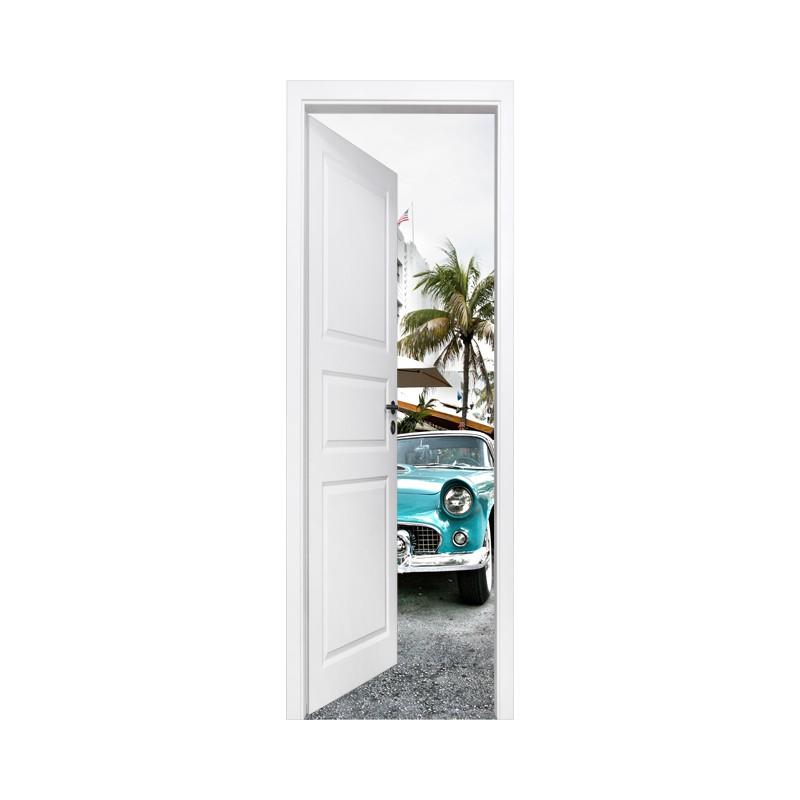 stickers trompe l 39 oeil porte miami beach tatoutex stickers. Black Bedroom Furniture Sets. Home Design Ideas