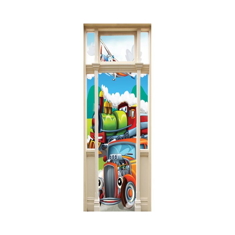 Stickers trompe l 39 oeil porte v hicule pour enfants for Stickers pour porte chambre