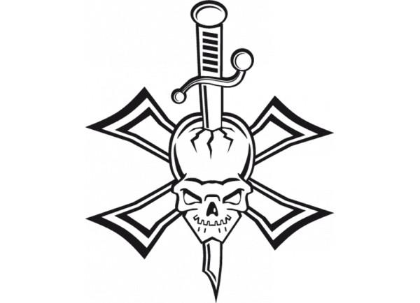 stickers Skull épée