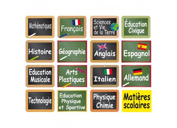 stickers 16 étiquettes matières scolaires