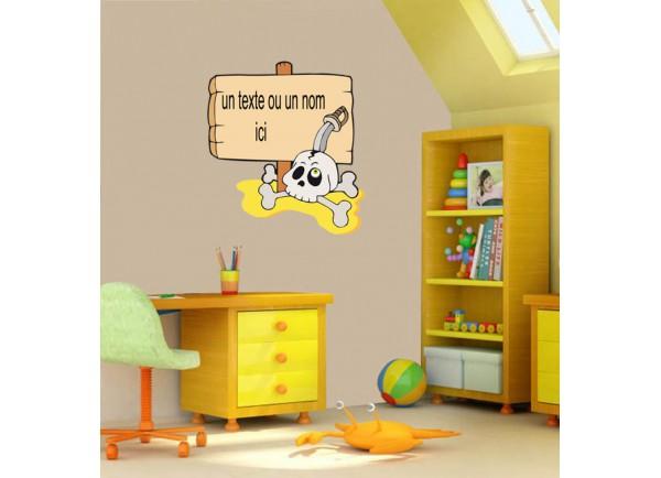 stickers Crane de pirate et pancarte