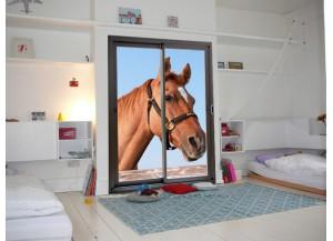 Stickers trompe l'oeil baie vitrée Portrait de cheval