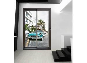 Stickers trompe l'oeil baie vitrée Miami beach