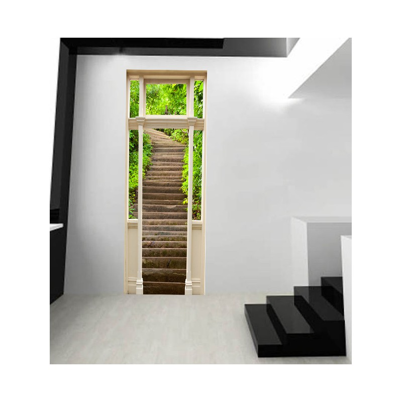 stickers porte escalier dans la nature. Black Bedroom Furniture Sets. Home Design Ideas