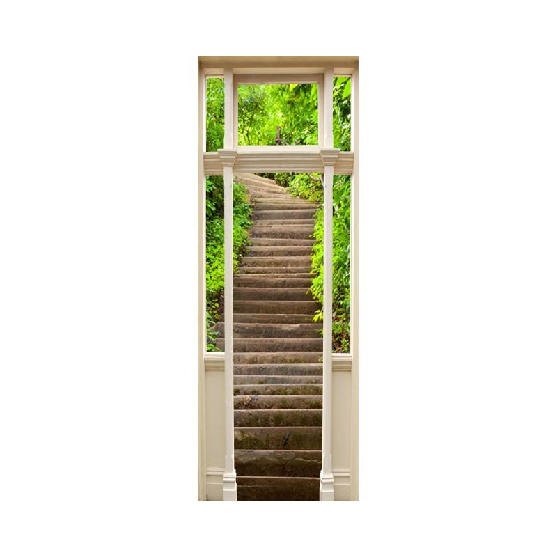 Stickers porte escalier dans la nature - Stickers trompe l oeil escalier ...