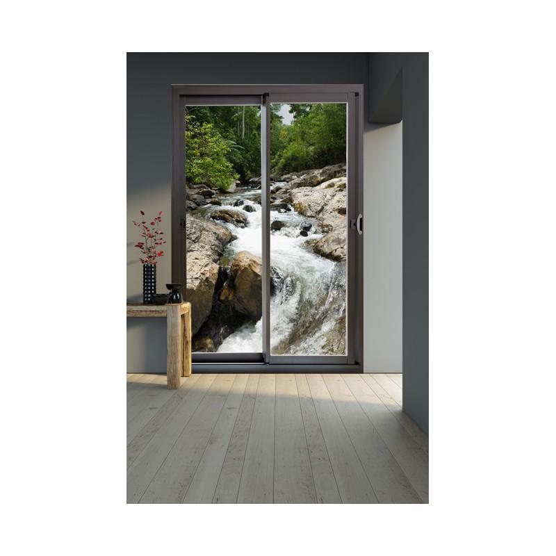 stickers trompe l 39 oeil d 39 une baie vitr e avec vue sur une rivi re. Black Bedroom Furniture Sets. Home Design Ideas